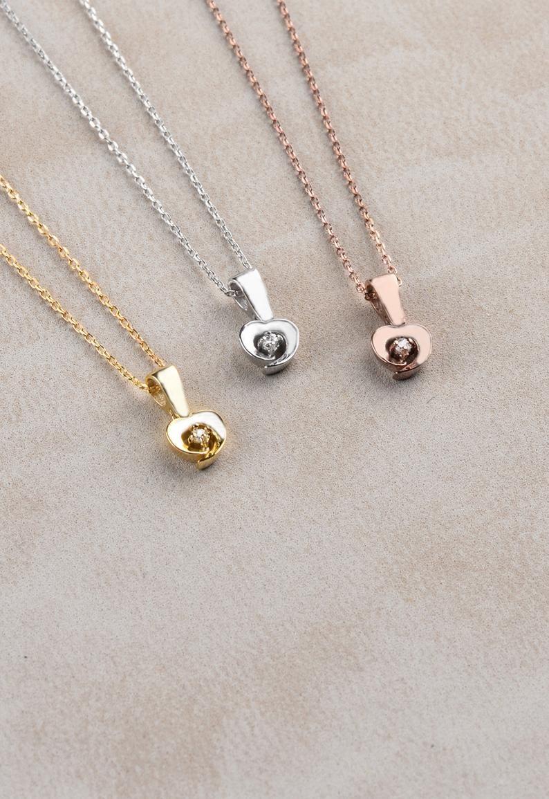 Photo of Diamond Necklace Solitaire, Heart Diamond Pendant, Wedding Gift, Tiny Heart Necklace, Diamond Necklace, Minimal Necklace,  Briedsmaid Gift