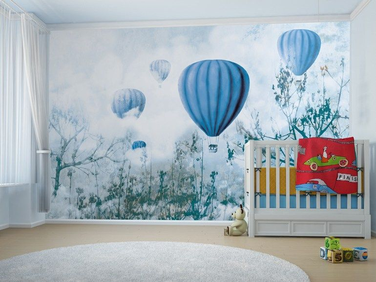 Carta da parati a motivi adesiva in tessuto in stile moderno per bambini balloon roombed - Carta da parati adesiva per camerette ...