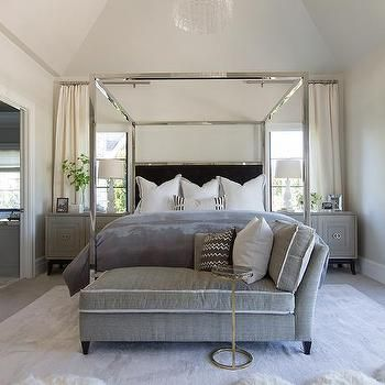 Chrome Canopy Bed with Black Headboard | BATH & BED ...
