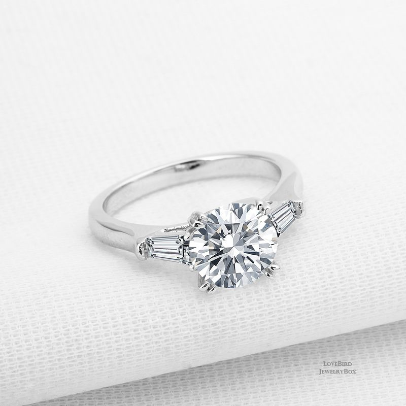 2 Ct Round Baguette Cubic Zirconia Trilogy 925 Sterling Silver Engagement R Engagement Rings Sapphire White Sapphire Engagement Ring 925 Sterling Silver Ring