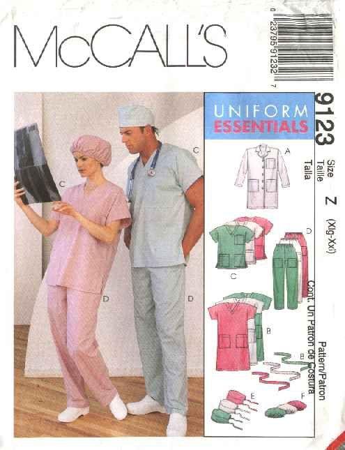Mccall S Sewing Pattern 6107 Misses Mens Chest Size 31 40 Lab Coat Scrub Uniform Top Pants Dress Mccalls Sewing Patterns Mccalls Scrubs Uniform