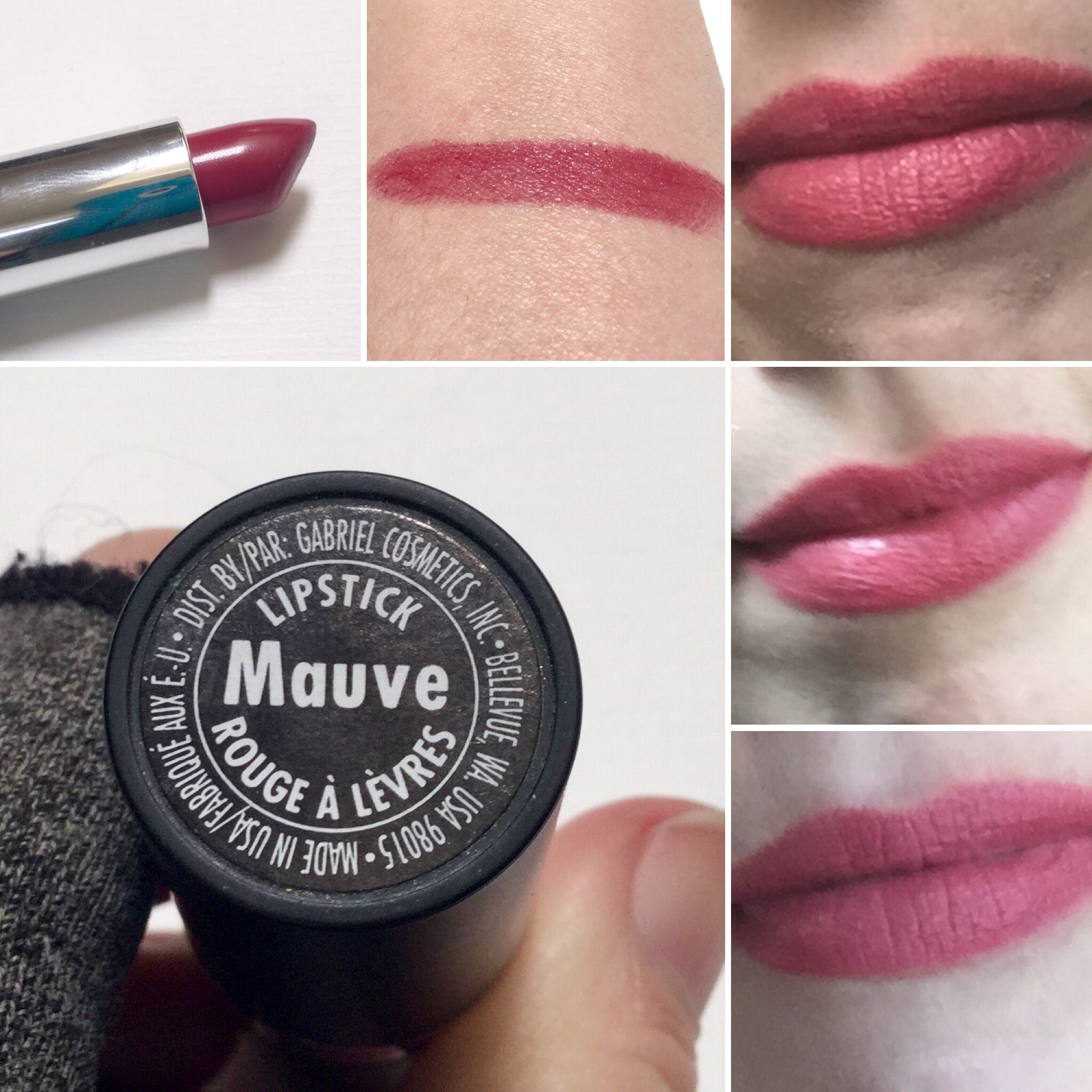 Mauve lipstick by Gabriel Cosmetics. Really more like bubblegum ...