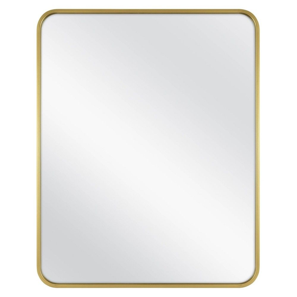24 X 30 Rectangular Decorative Wall Mirror With Rounded Corners Brass Project 62 Mirror Wall Decor Mirror Wall Rectangular Mirror