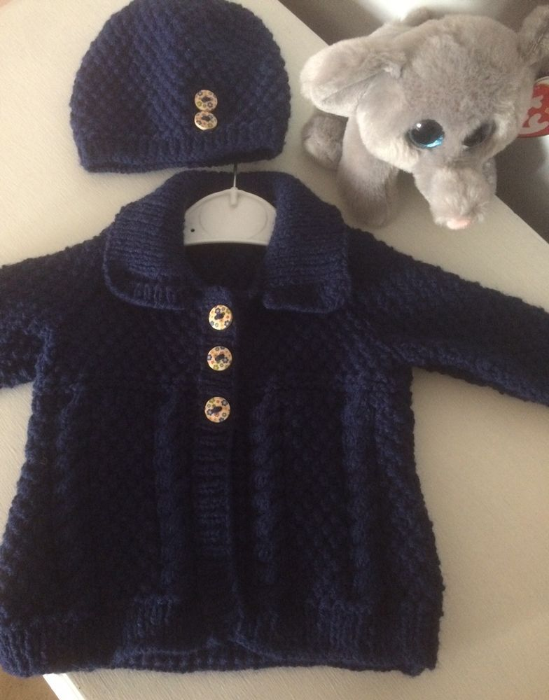 620462aa6 Hand Knitted Baby Girls ARAN Cardigan  Coat And Hat Set 3 -6 Months ...
