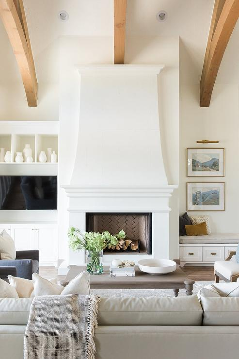 Built In Bench Next A White Fireplace In A Transitional Living Room Adding A Coz Farm House Living Room Modern Farmhouse Living Room French Country Living Room