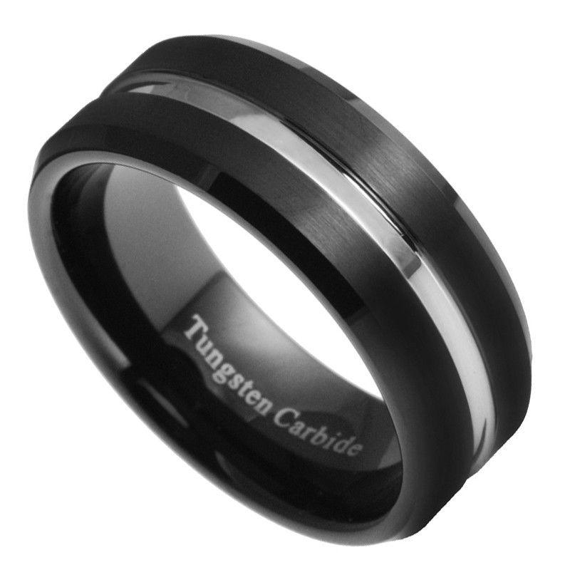 8mm Tungsten Carbide Men Women Black Silver Groove Wedding Band Ring Size 7 15