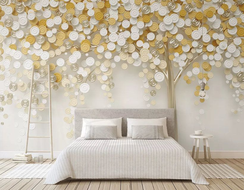 3d Stereo Tree Golden Fortune Tree Background Wall Bedroom Mural Paper