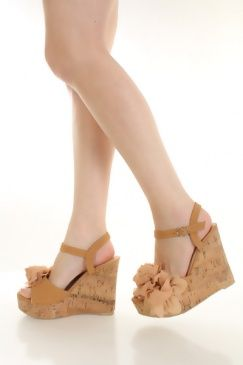 Camel Faux Leather Mesh Floral Peep Toe Cork Wedges