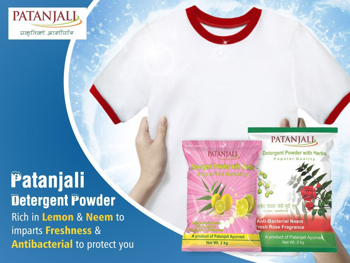 Patanjali Detergent Powder is rich in Lemon and Neem to