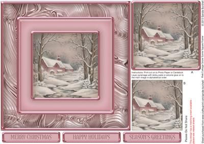 Pink Cottage Snow Scene Square Frame Pyramage on Craftsuprint designed by Sandie Burchell - Beautiful 7 inch square approx. Square Frame Pyramage. Sentiments include: Merry Christmas, Happy Holidays and Season's Greetings or Blank for your own peel-off lettering or stamp. This design also has a matching insert sheet available - please see related sheets. To see other designs in this series please click on my name and enter square frame pyramage into my search box. Please take a look at my…