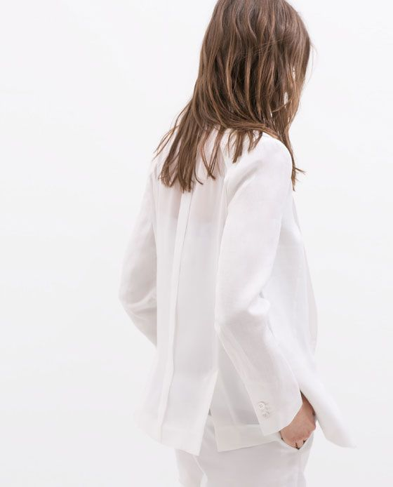 Image 5 of TRANSPARENT BACK LINEN BLAZER from Zara