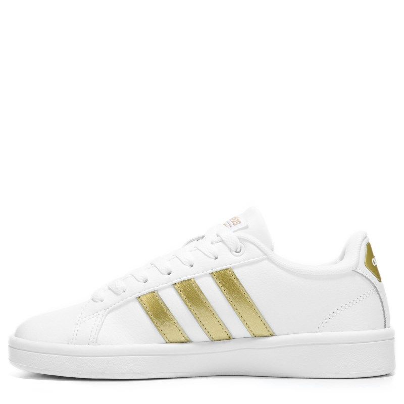 Adidas Women's Cloudfoam Advantage Stripe Sneakers (White/Gold) - 10.0 M