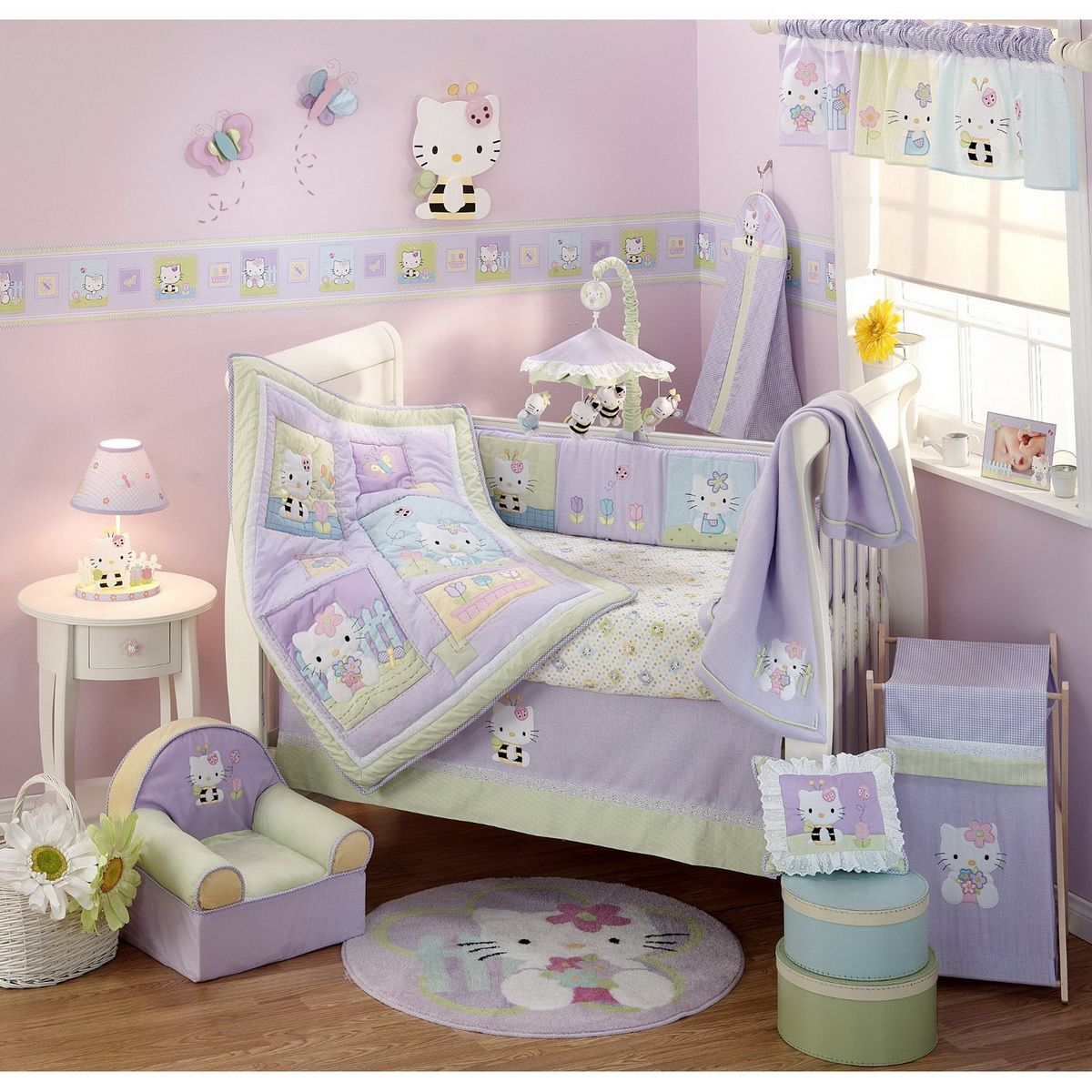 Hello kitty baby room - Hello Kitty Baby Bedding For Your Baby Girl S Crib Hello Kitty Nursery Bedding And Decor In The Latest Colors And Themes Hello Kitty Crib Sets With Wall