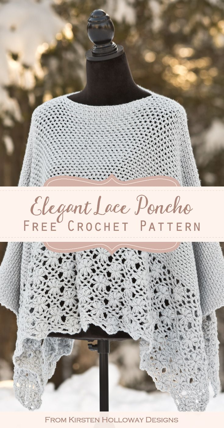 Frost Petals Lace Poncho Free Crochet Pattern in 4 Sizes - Kirsten Holloway Designs