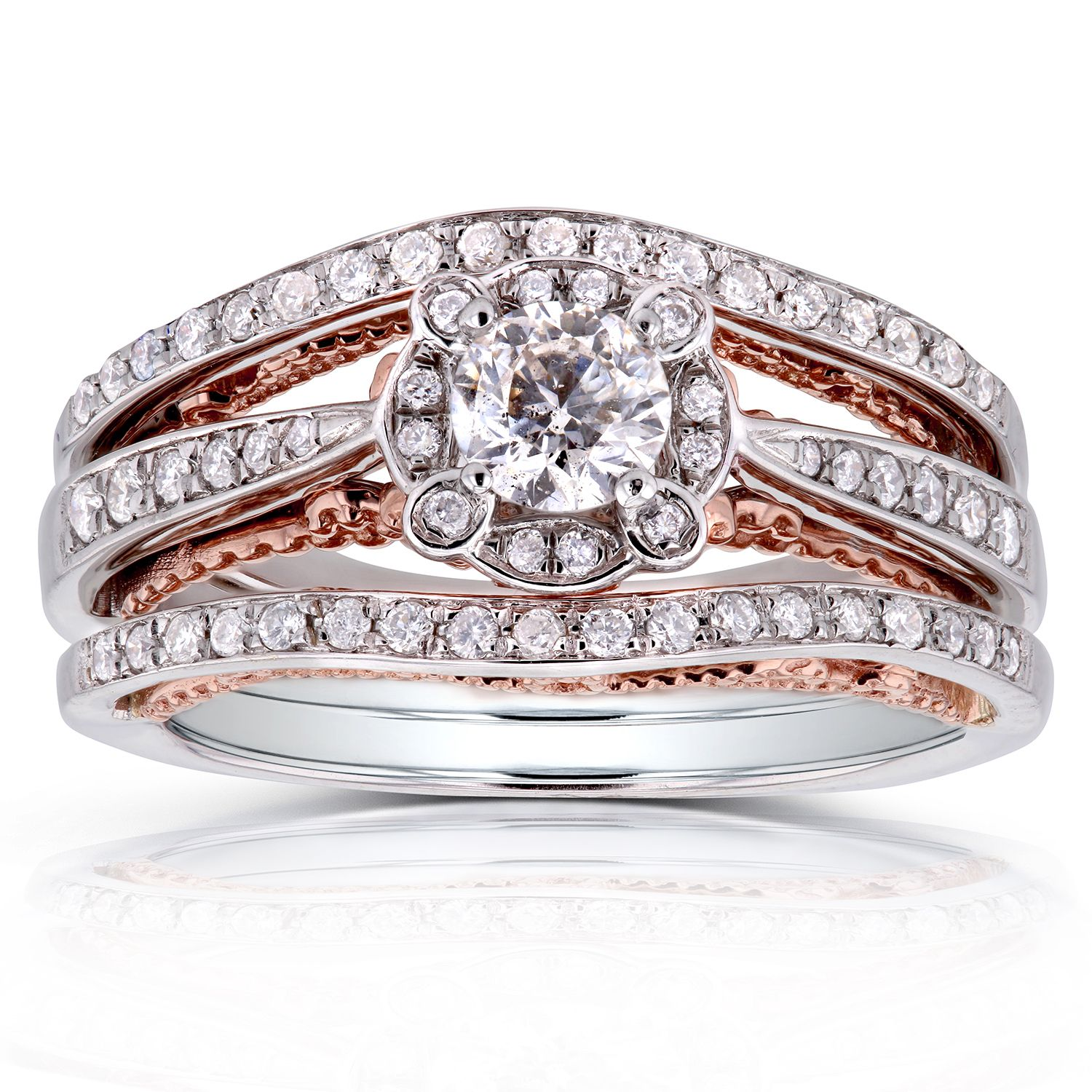 Annello 14k White Gold and Rose Gold Underside 5/8ct TDW Diamond Unique Halo Bridal Rings Set