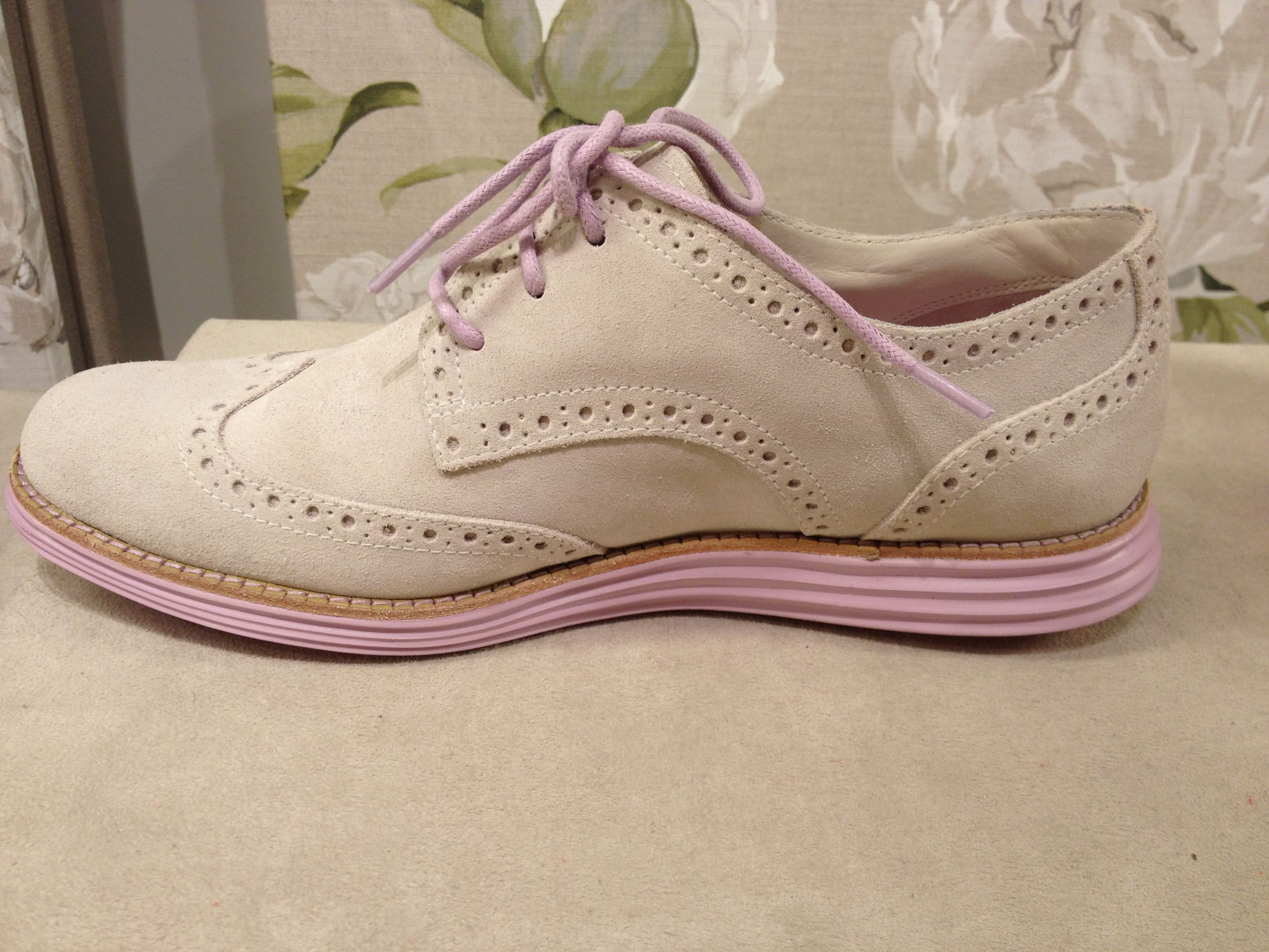 Haan Women's Ivory-Suede Larkspur Lunargrand Wing Tip with Nike's Lunarlon  cushioning system--Mission shoes?