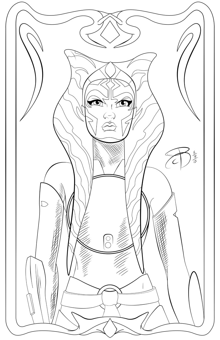 PinUp Ahsoka Tano by RCBrock on DeviantArt LineArt Star Wars