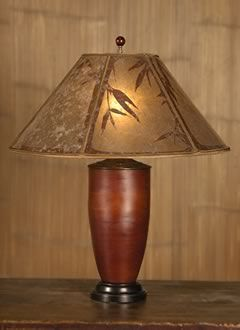 Asian Table Lamps Asian Red Bamboo Table Lamp Round Mica Lampshade With Handcut