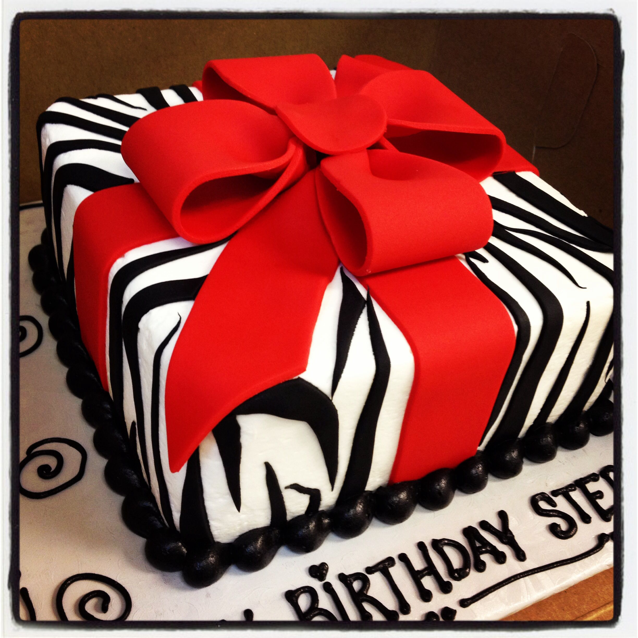 Black And White Zebra Striped Gift Box Cake With Red