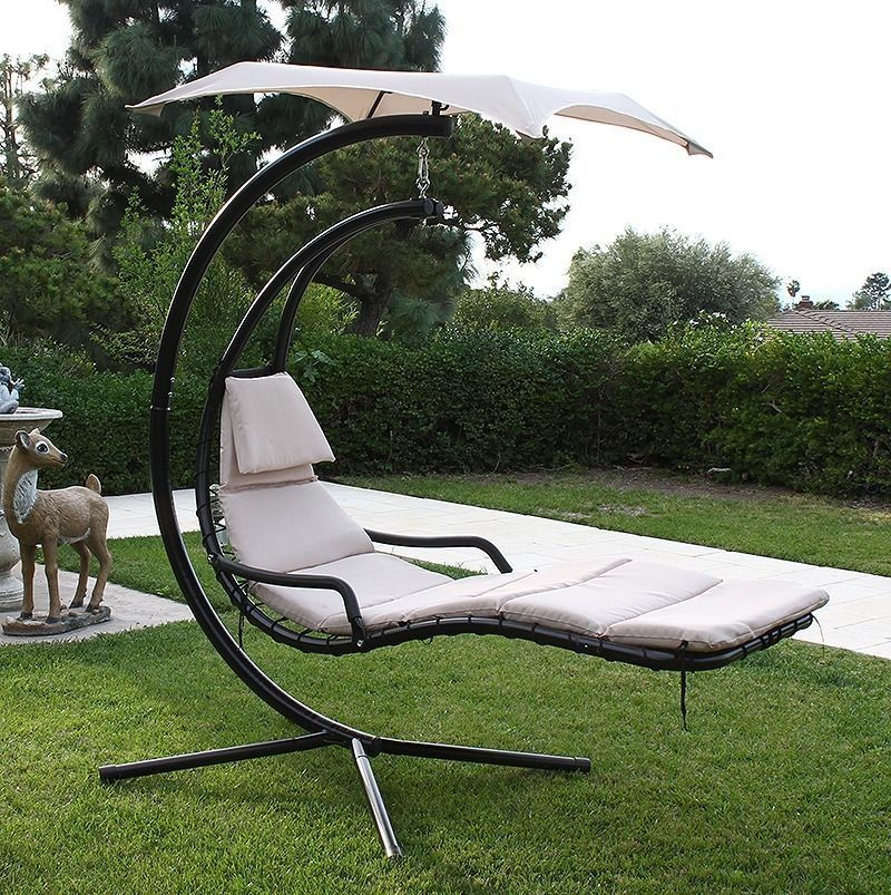 Hammock Chair With Canopy Chaise Lounge Outdoor Cushions Hanging Helicopter Dream Lounger Arc Stand Swing Tan