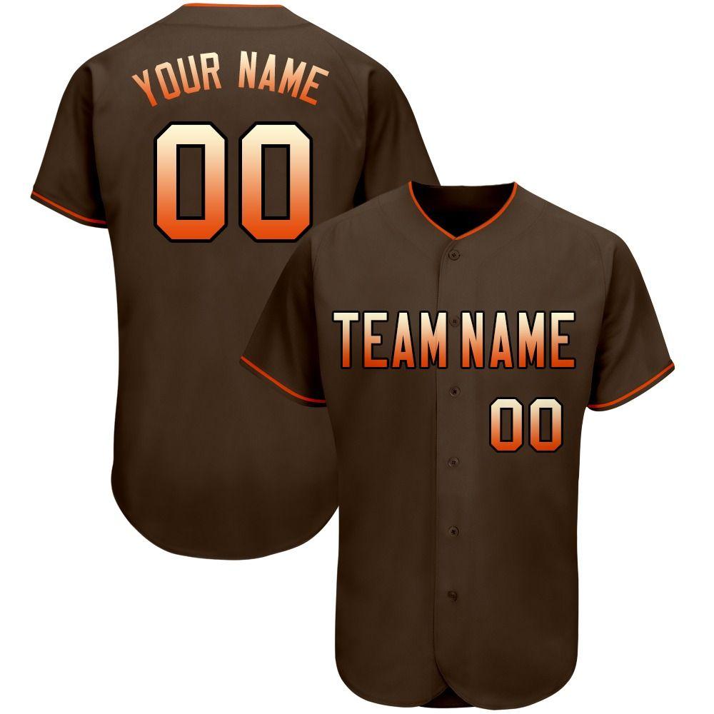 Baseball jersey custom mesh full button brown team shirts