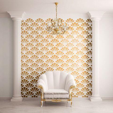 Scallop Shell Pattern Wall Stencil Self Adhesive Wall Patterns Stencils Wall My Wonderful Walls