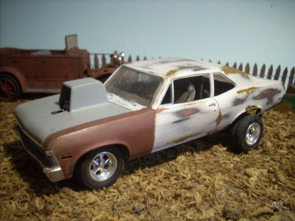 Built 1972 chevy nova drag car barn find junkyard junker diorama ...