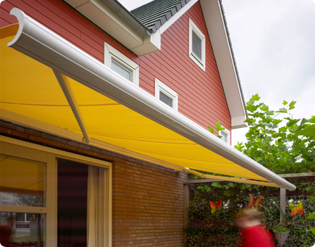 Tibelly Fabric And Oliva Awning For A Colourfull Garden