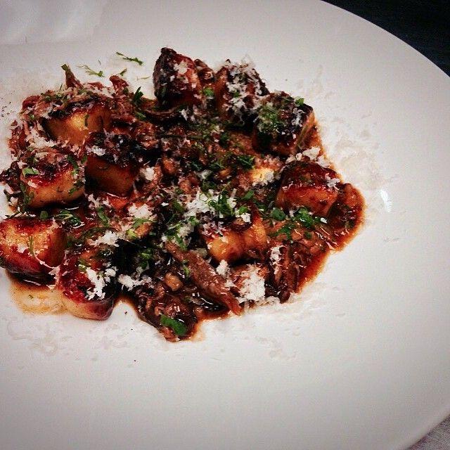 Potato gnocchi, braised lamb, Taggiasca olive.