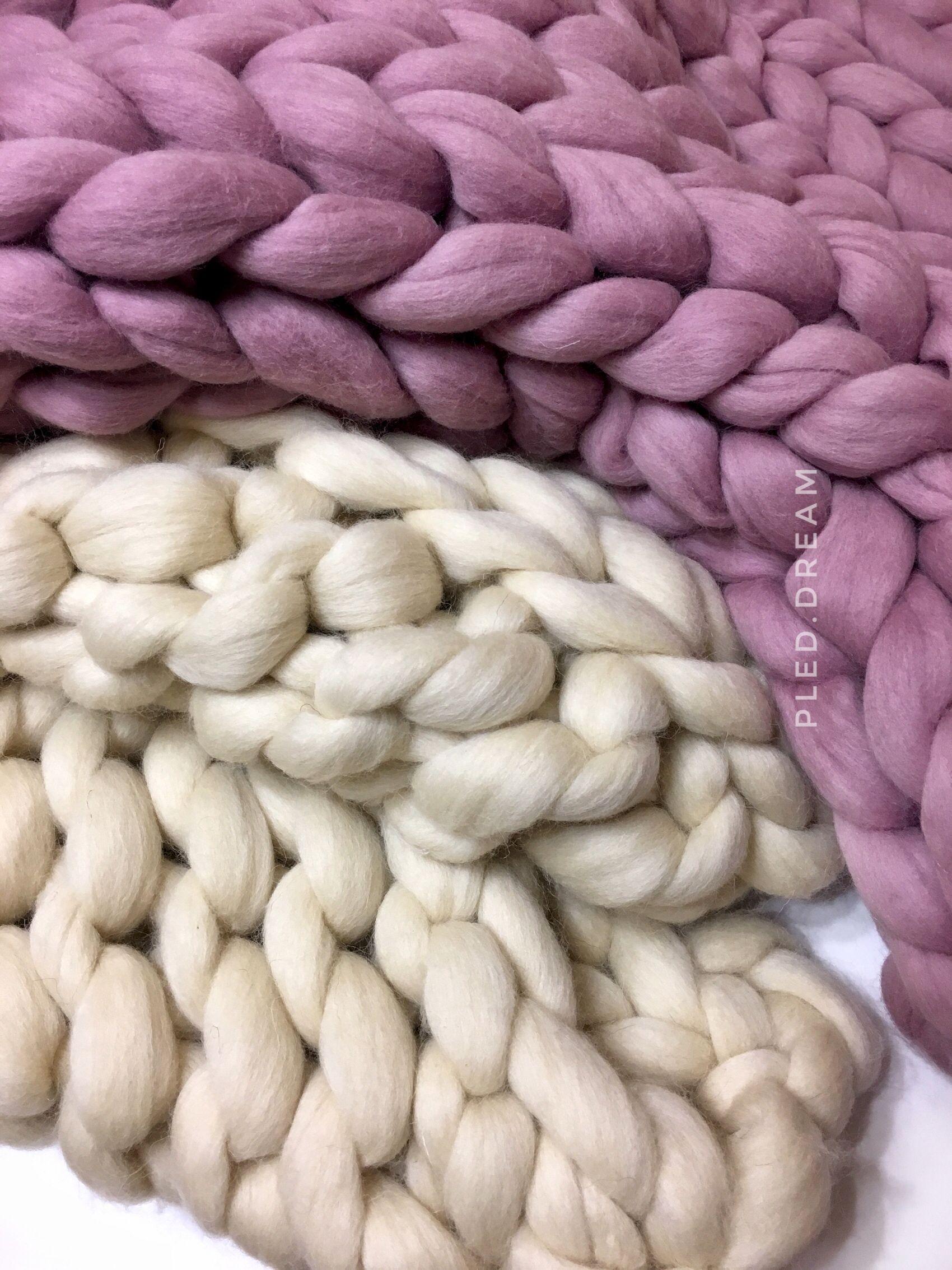 плед крупной вязки из толстой пряжи 100 меринос цвет натуральный