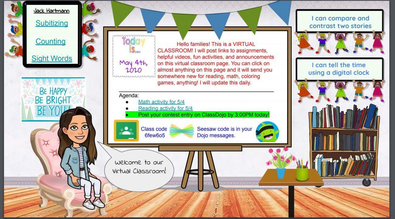 Teachers Are Creating Virtual Bitmoji Classrooms Cute And Helpful Too Virtual Classrooms Digital Classroom Classroom Banner