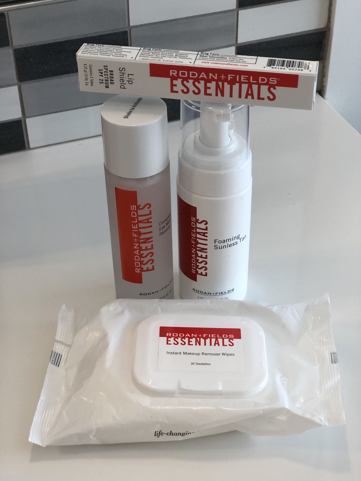 My favorite essentials lip shield, eye makeup remover and