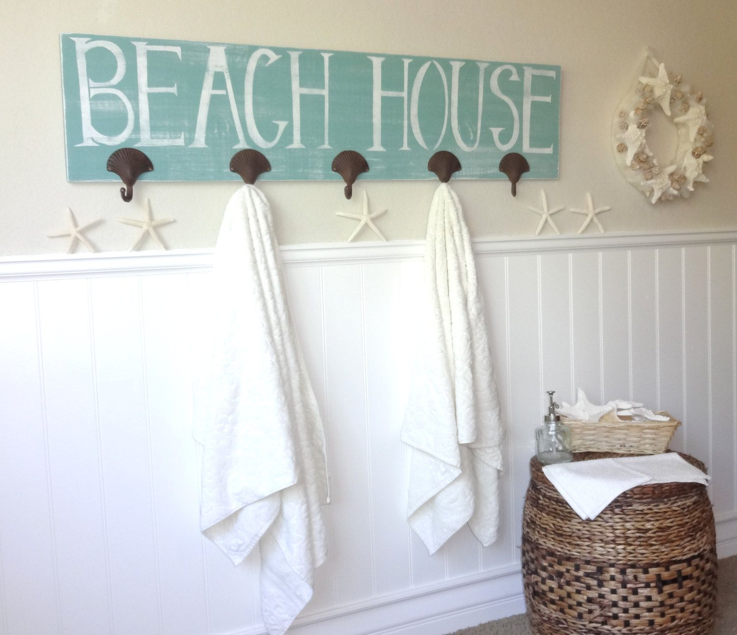 Nautical Wooden Beach House Towel Rack Towels Beach And