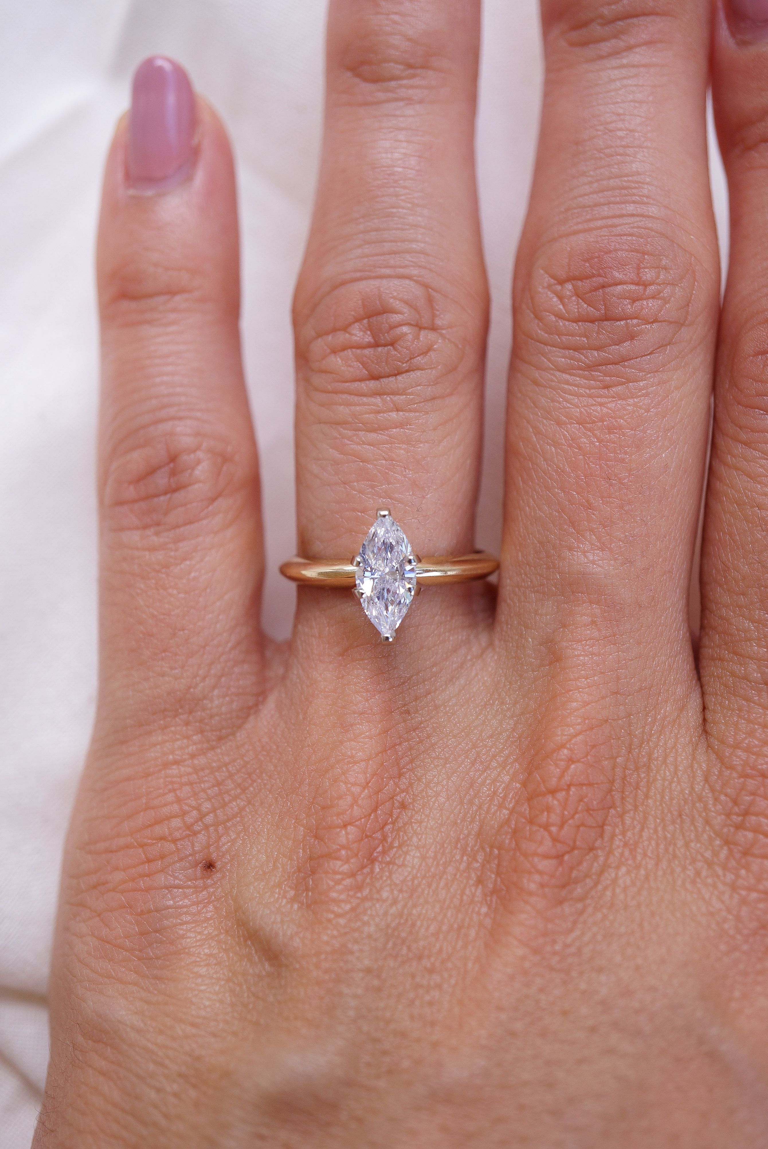 Marquise Diamond Solitaire Ring In 14k Yellow Gold Dainty Marquise Diamond Ring Solitaire Diamond Ring Minimalist Engagement Ring Rose Engagement Ring Marquise Diamond Solitaire Ring Engagement Rings Marquise