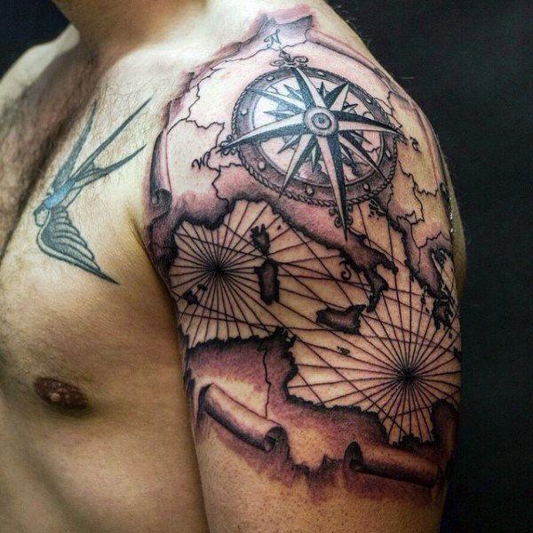 Vintage Map With Nautical Star Travel Quarter Sleeve Tattoos For Guys Sleevetattoos Tattoos For Guys Full Sleeve Tattoo Design Quarter Sleeve Tattoos