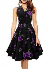 Purple Swing Floral Printed Vintage Elegant Lapel Skater Dress