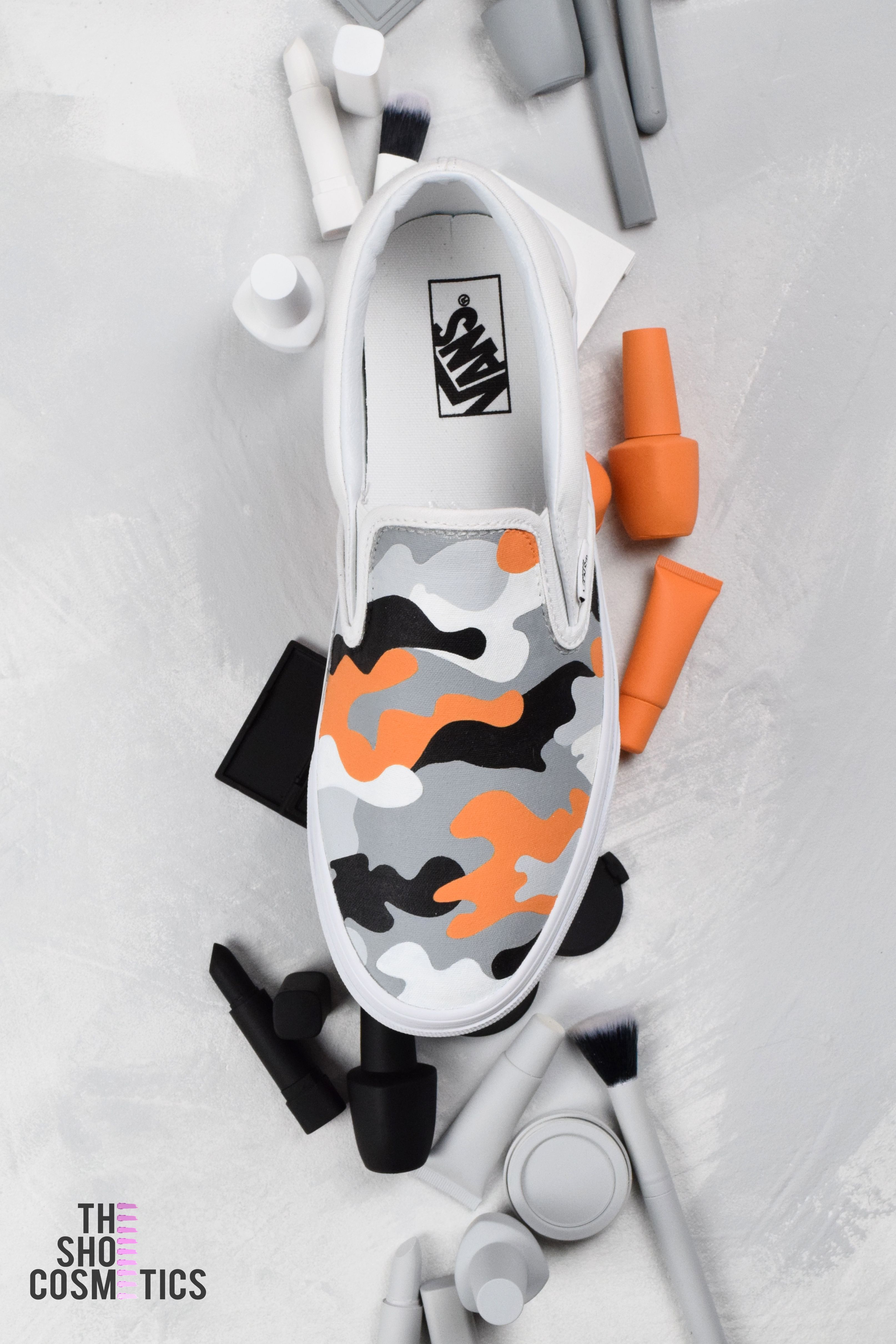 d15714343051 Explore our hand painted orange camo custom vans slip on sneakers. Looking  for slip on vans or women s Vans shoes  Then our custom vans sneakers are  perfect ...