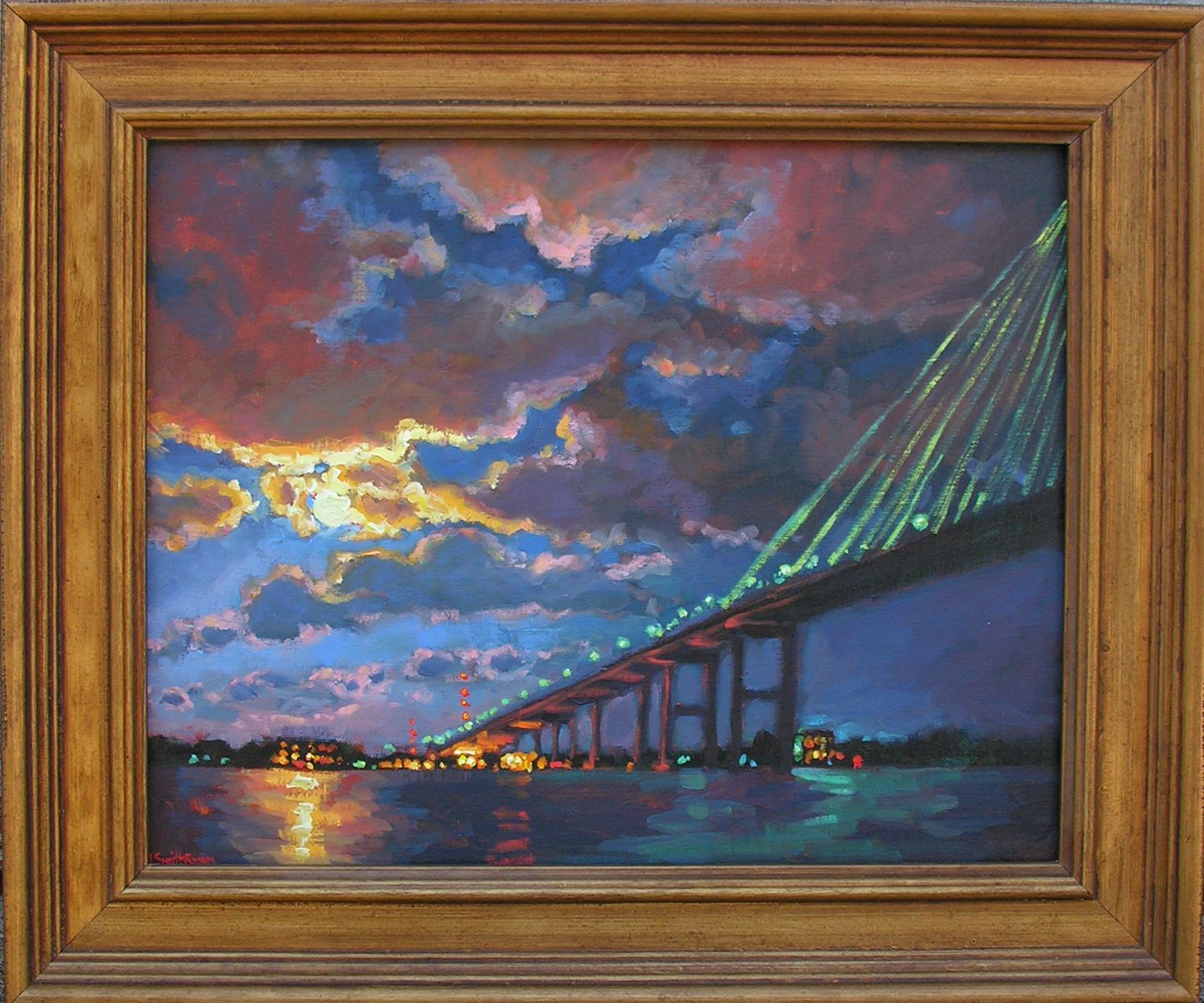 Cooper River Moon, Mount Pleasant, South Carolina. Painting by Jennifer Smith Rogers, Anglin Smith Fine Art (http://anglinsmith.com/)