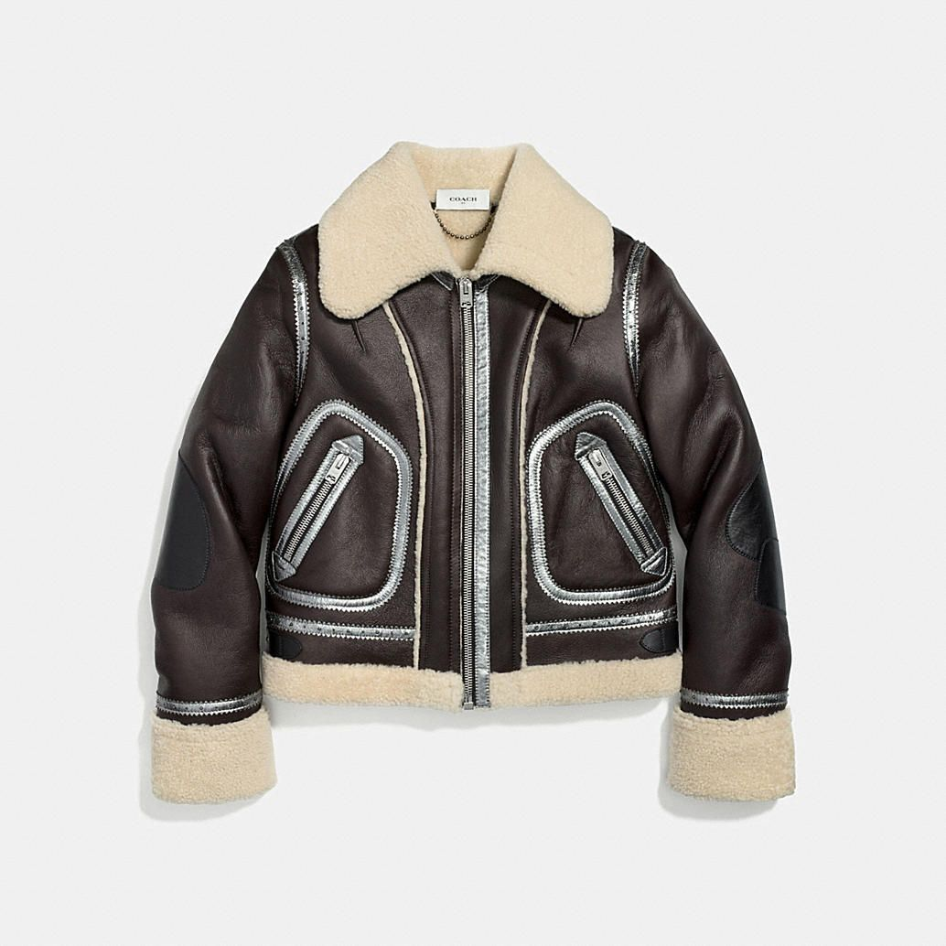 An Unprecious Take On Luxury The Shearling Aviator Gets A Uniquely Coach Touch With Metallic Leather Shop Womens Jackets Jackets For Women Suede Bomber Jacket [ 1034 x 1034 Pixel ]