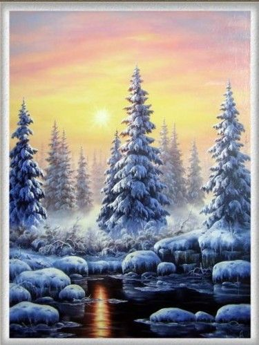 Havas fenyők ( Fir trees in snow ) Bob ross Bilder Bob