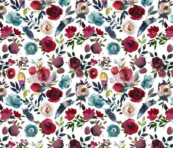 Watercolor Watercolour Bloom Blooming Floral Fabric Printed by Spoonflower BTY