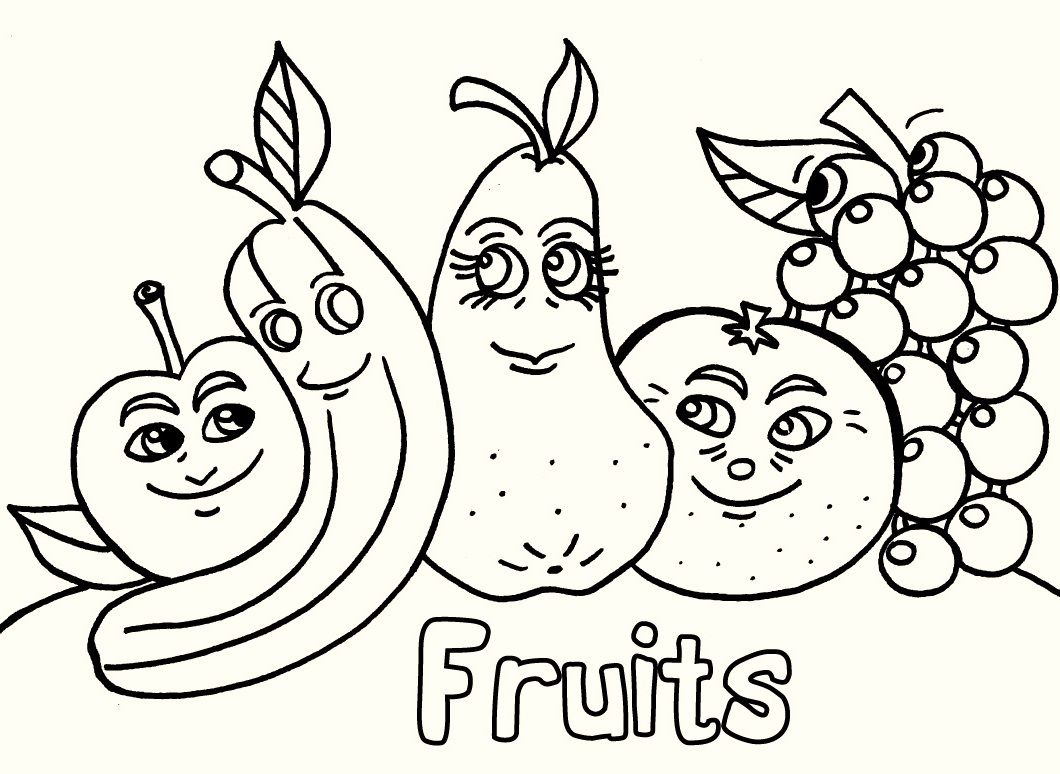 Fruits coloring pages printable this page contains cute cartoons apple and fruits basket fruits coloring pages for toddlers and kindergarten
