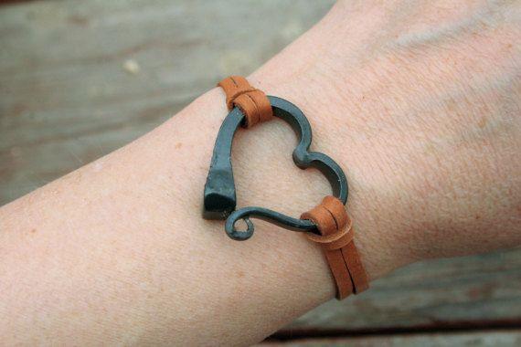 Photo of Horseshoe nail bracelet, Hand forged heart bracelet, Hand forged iron, Horse Lover Gift, Horse Shoe Nail, Horse Jewelry, Horse Shoe Bracelet