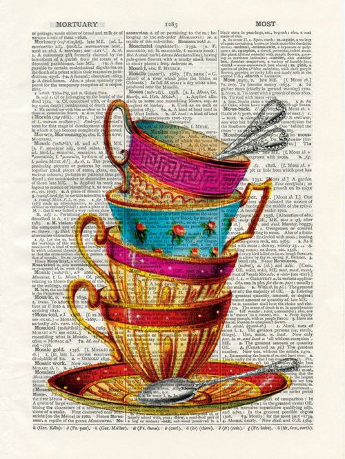 Tea cups - vintage book page print on a page from an Upcycled Early 1900s Dictionary Buy 3 get 1 Free.