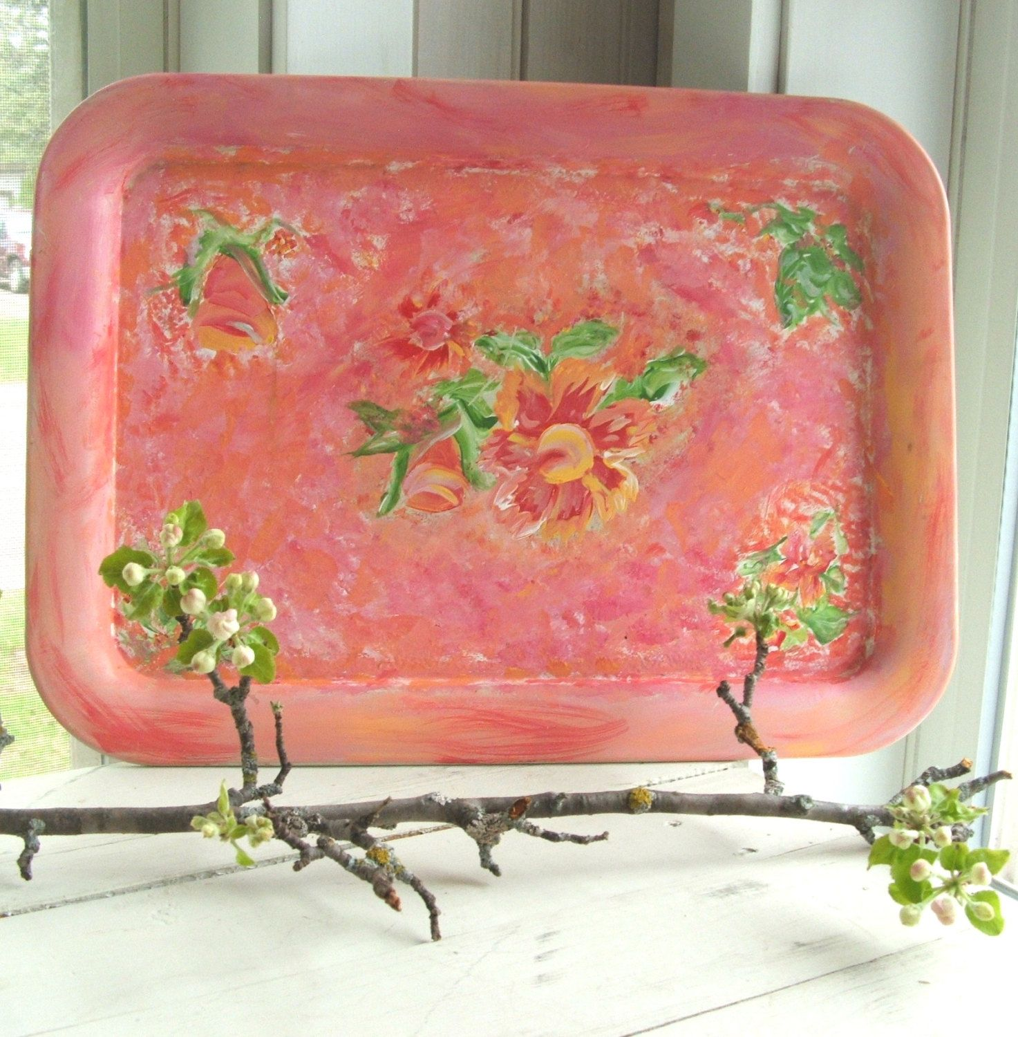 Vintage Tole Tray Hand Painted Floral Shabby Cottage Chic Garden by lookonmytreasures on Etsy