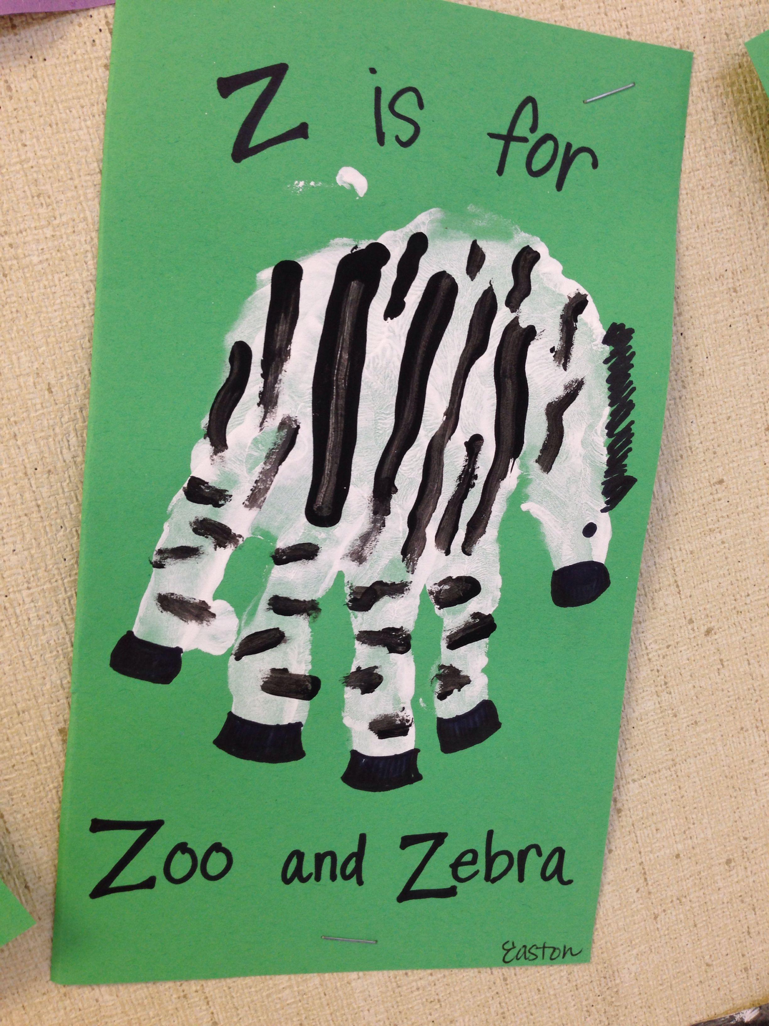 Z Is For Zoo Amp Zebra Handprint Craft