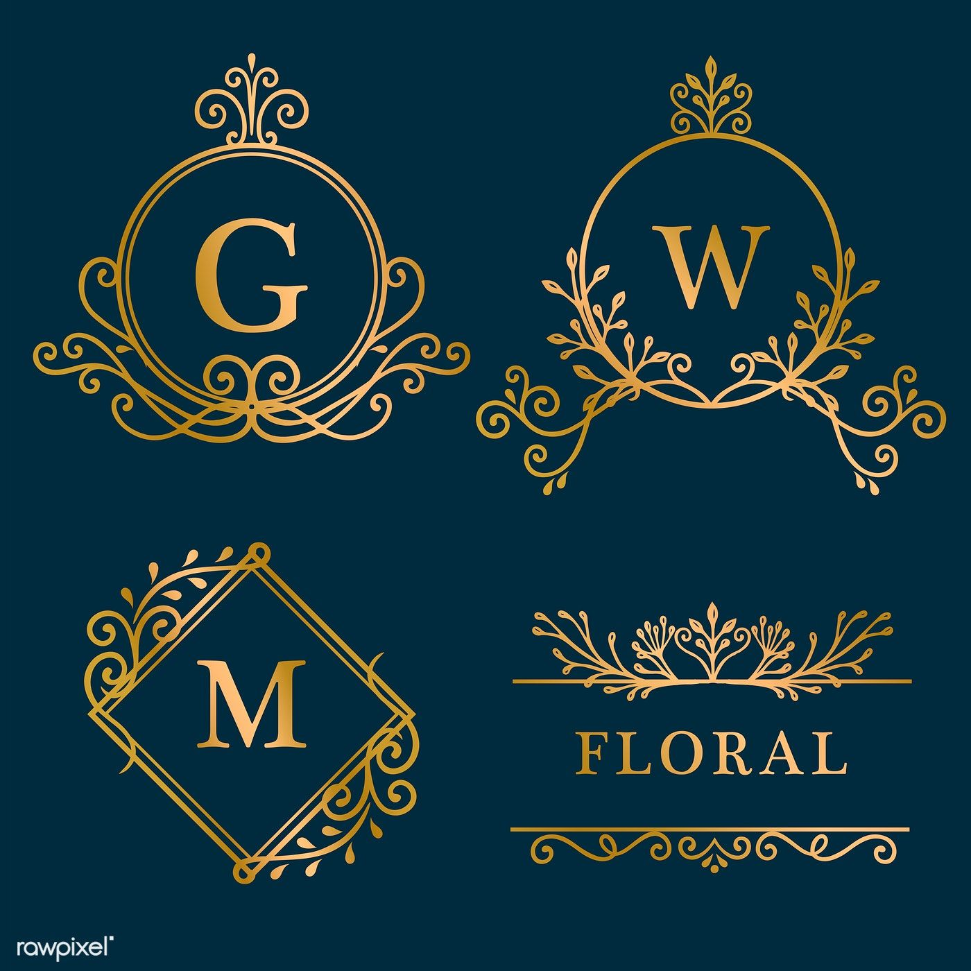 Set Of Golden Framed Vintage Logo Vector Free Image By Rawpixel Com Filmful
