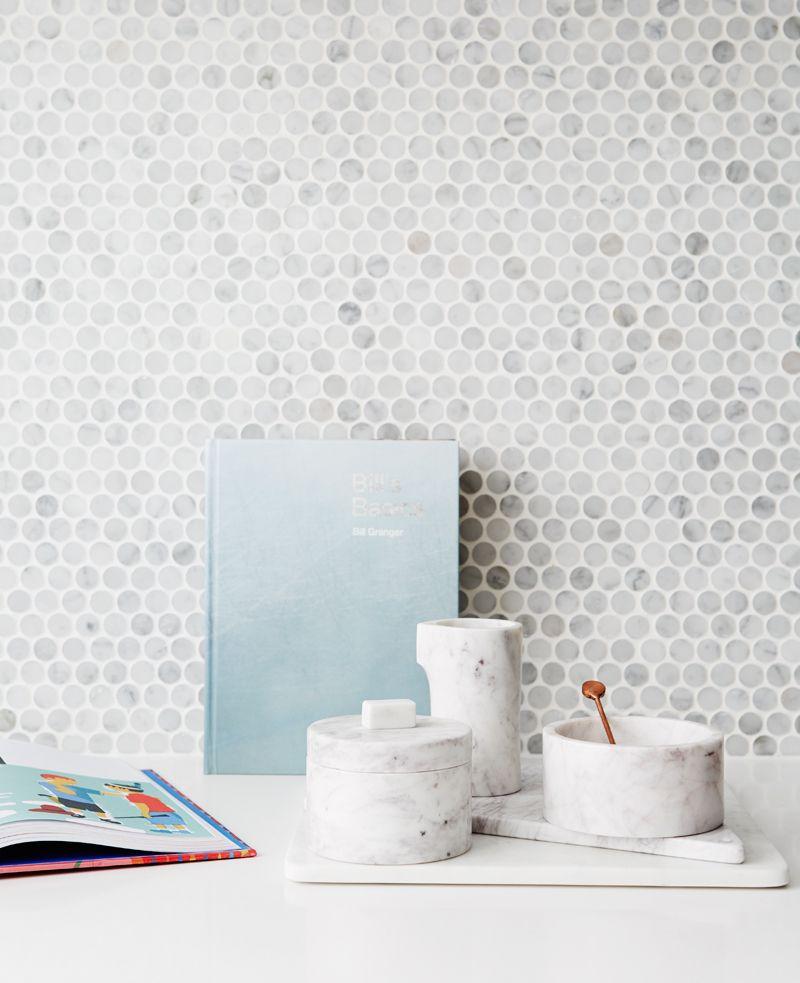 Kitchen Marble Penny Round Mosaic Tile Splashback Small