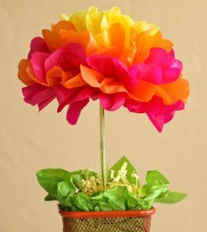 centro de mesa flor de papel seda passo a passo