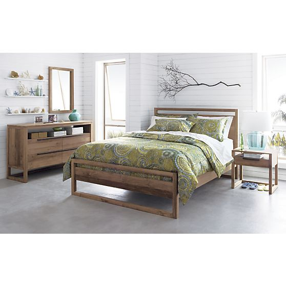 Linea bed with nightstand i crate and barrel bedrooms - Crate barrel bedroom furniture ...